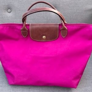 Longchamp Large Le Pliage Tote in Hot Pink